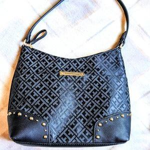 Tommy Hilfiger Black and Gold Monogram Handbag